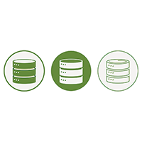 Three database icons lined up in a row.