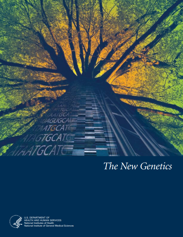 The cover of The New Genetics booklet.