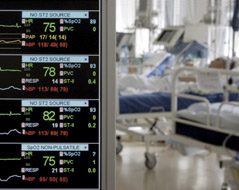 Patients monitored in the intensive care unit.