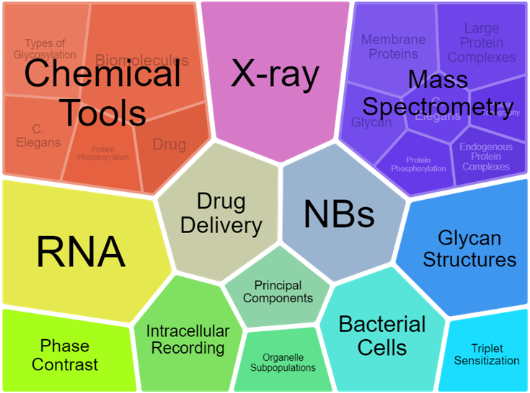 A colorful graphic with the folowing words: Chemical Tools, X-ray, Mass Spectrometry, RNA, Drug Delivery, NBs, Glycan Structures, Phase Contrast, Intracellular Recording, Principal Components, Organelle Subpopulations, Bacterial Cells, and Triplet Sensitization.